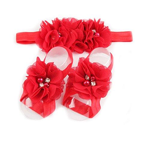 [LD DRESS Baby Girl Foot Flower + Headband (Red)] (Red Girls Hair Band)