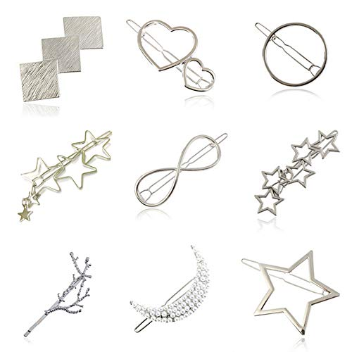 ETUCK 9pcs Minimalist Dainty Hair Clips Hollow Geometric Alloy Hairpin Hair Clamps,Star,Square,Tree Shrew,Pearl and Heart-shaped Multiple Pattern for Women-Silver (A2)