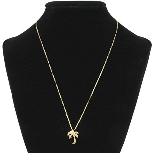 Me Plus Palm Tree Small Charm Necklace Tiny Cute Pendant with Adjustable Clasp - Gold Necklace Palm