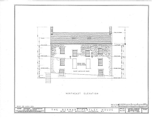 Historic Pictoric Blueprint Diagram HABS NJ,16-PAT,4- (Sheet 7 of 13) - Bernard Hartley House, 158-160 West Broadway, Paterson, Passaic County, NJ 14in x 11in]()