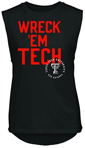 NCAA Rocker Women's Sleeveless Drop Tail Tank, Black, Small, Texas Tech Red Raiders (Tech Sleeveless Shirt)