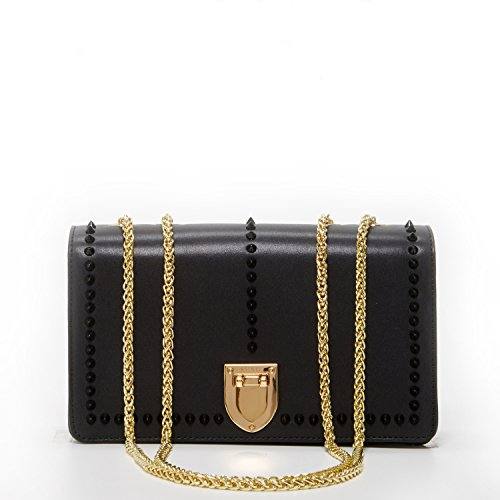Studs Crossbody Bags For Women Black Leather Crossover Purse Studded Purses  and Handbags Light Gold Chain c055ca8d06b63
