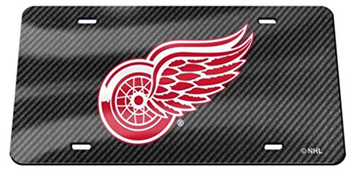 Detroit Red Wings Carbon Fiber Design Premium Laser Cut Tag Acrylic Inlaid License Plate Hockey