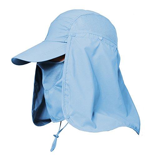 Jormatt Women & Men Outdoor Sun Hat Fishing Hiking Running Gardening Hat with Face Neck Flap Protection Cover Removable Summer UPF 50+ Folding UV Sun Cap,Blue