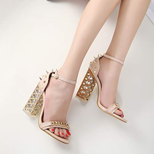 Women's Chunky Heel Sandals,Ladies Summer Ankle Straps High-Heels Open Toe Sandal by Sunskyi (Image #1)
