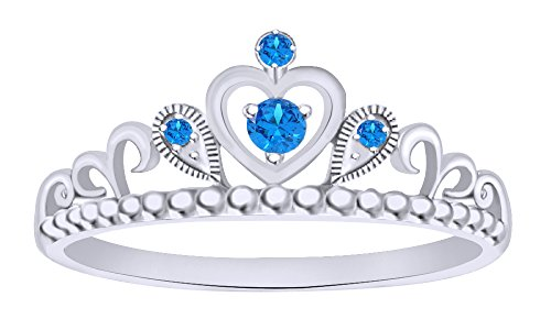 Milgrain Heart - Simulated Blue Topaz Milgrain Heart Princess Crown Engagement Ring in 14k White Gold Over Sterling Silver Ring Size - 5.5