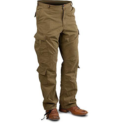 - Distressed Vintage BDU Paratrooper Cargo Pants - Khaki - 2XL