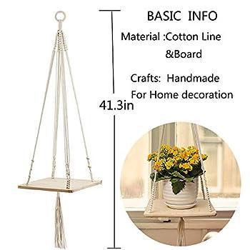 Furnily Macrame Plant for Home Decoration Shelf Hanging Planter(Square)