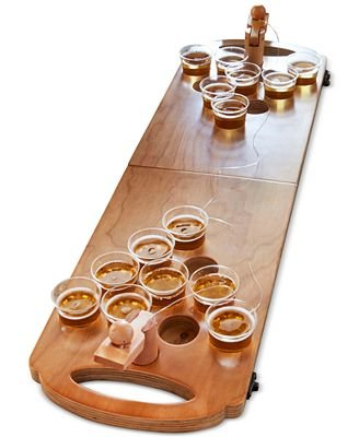 Refinery and Co. Wooden Beer Pong Game Luxury Foldable Tabletop Size Boardgame for Party and Hang Out by Refinery and Co.