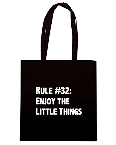 T-Shirtshock - Bolsa para la compra ENJOY0133 Rule #32 Enjoy the Little Things Negro