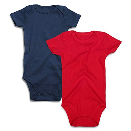 (Baby Bodysuit 2-Pack Solid Colors Newborn Boy Girl Onesie 0-24 Months (Navy/Red Short Sleeve 2 PCS, 9-12 Months) )
