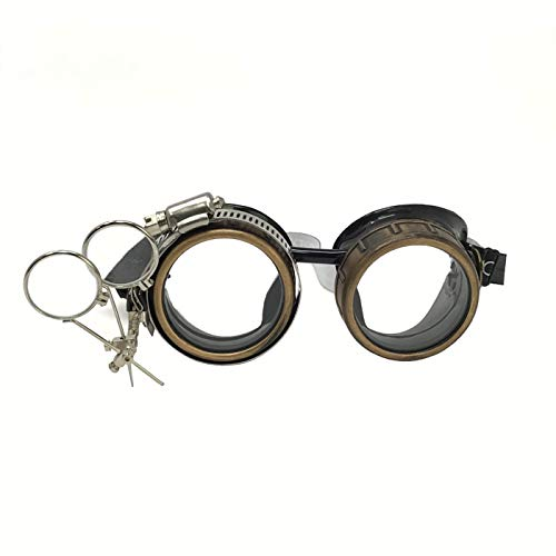 Steampunk Victorian Style Goggles with Compass Design, Rave Diffraction Glasses Spiral Lenses Spiral Crystal Clear Lenses ()