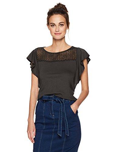 Three Dots Women's Trellis Lace Flutter Sleeve Top, Black`, M Black Lace Flutter Sleeve Top