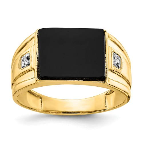14k Yellow Gold Men's Onyx and Diamond Ring (Color H-I, Clarity SI2-I1) by Jewelry Pot (Image #2)
