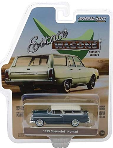 - 1955 Chevrolet Nomad Glacier Blue with Cream Top Estate Wagons Series 1 1/64 Diecast Model Car by Greenlight 29910 A