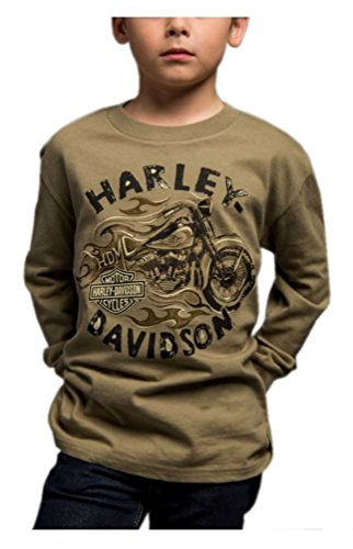 Harley-Davidson Big Boy's Arriving Safely Long Sleeve Crew Shirt, Green (10)