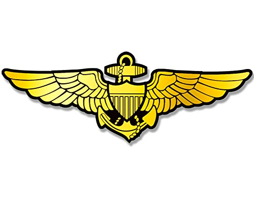 American Vinyl Gold Navy Aviator Wings Shaped Sticker (Logo Naval Pilot Fly Aviation) (Naval Aviator Wings)