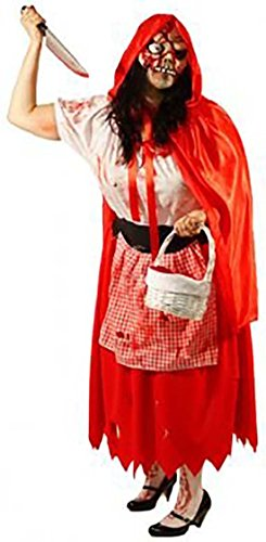 Halloween-Horror-Zombie-Fancy Dress EVIL RED RIDING HOOD, WEAPON, BLOOD & MASK Ladies Costume - All Sizes (UK 12) -