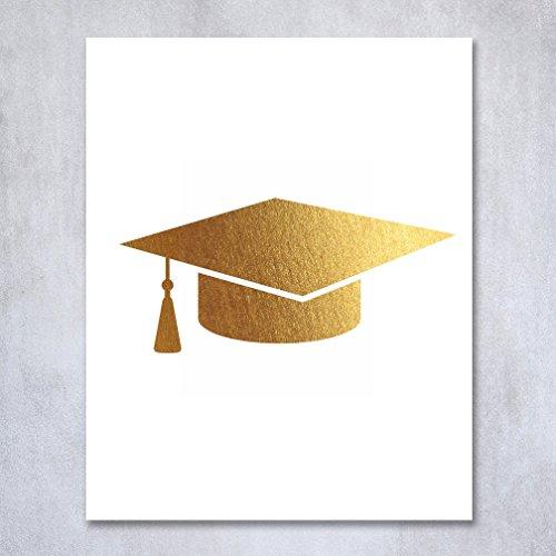 Graduation Cap Gold Foil Print Grad Party Decor Home Wall Art Print Quote Metallic Poster 8 inches x 10 inches