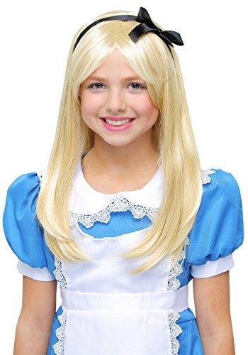Fun Costumes Deluxe Alice Child Wig Standard Yellow]()
