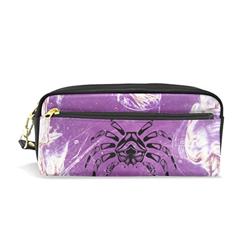 DNOVING Pencil Case Stylish Print Cancer Colorful Purple Art Artistic Art Pattern Large Capacity Pen Bag Makeup Pouch Durable Students Stationery Two Pockets with Double Zipper - Cancer Caps Pattern
