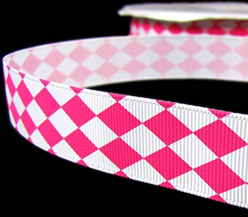 5 Yd Valentine Pink White Diamond Checked Argyle Grosgrain Ribbon 7/8