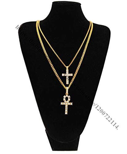 (Mens Silver Plated Rhinestone Cross Pendant Necklace | Cross Jewelry (24Inch) (Gold Set))