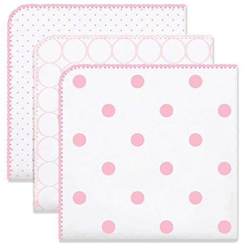 SwaddleDesigns Ultimate Swaddles, Set of 3, X-Large Receiving Blankets, Made in USA Premium Cotton Flannel, Mod Circles and Dots, Pink (Mom's Choice Award -