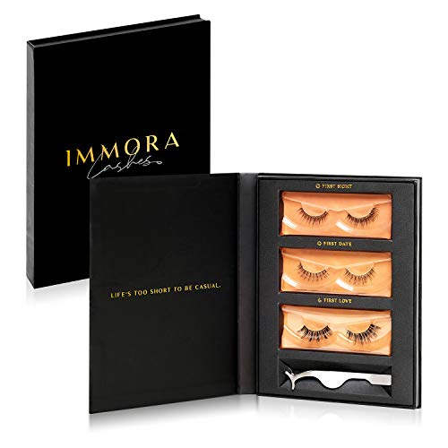 Immora Lashes Premium Mink False Eyelashes Pack | Natural Look and Feel | Set includes 3 Pairs of Fake Lashes and Applicator | Reusable | 100% Handmade & Cruelty-Free ()