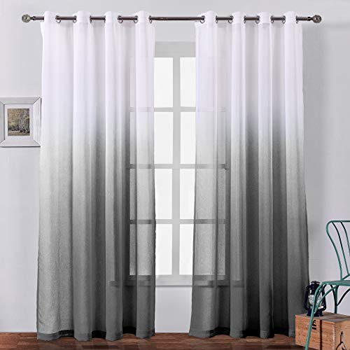 Faux Linen Ombre Sheer Curtains Voile Grommet Semi Sheer Curtains for Bedroom Living Room Set of 2 Curtain Panels 54 x 84 inch Black Gradient