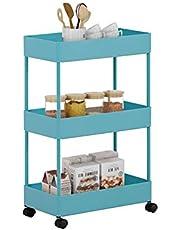 GOLDFAN 3-laags opbergrek rollende trolley voor keuken en badkamer met afsluitbare wielen en PP-gaasopbergmand, blauw 40x 22x 64cm (L x B x H)