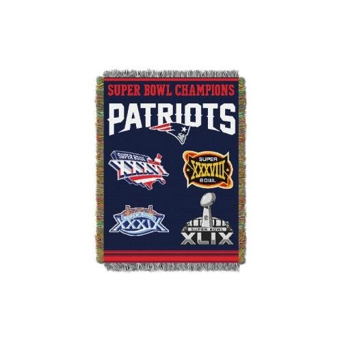 Tapestry England New Patriots (Amirshay, Inc. New England Patriots NFL Super Bowl Commemorative Woven Tapestry Throw (48x60) (2-Pack))
