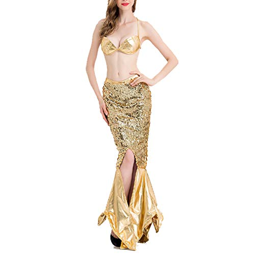 Women Sexy Mermaid Cosplay Costume Gold Sequined Evening Dress Fish Tail Skirt -