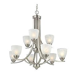 Interior Lighting Modern 2-Tier 9-Light Chandelier in Satin Nickel modern ceiling light fixtures