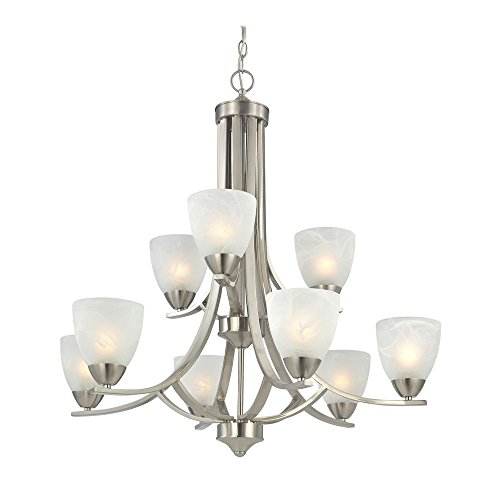 Modern 2-Tier 9-Light Chandelier in Satin ()