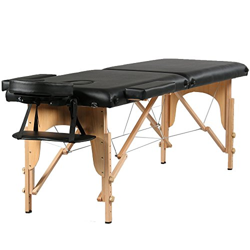 "Mefeir 84"" 2 Section Portable Folding Massage Table Package Stationary Salon SPA Tattoo Bed w/Free Carry Case,Beech Leg Adjustable Height Headrest,Black All Inclusive"
