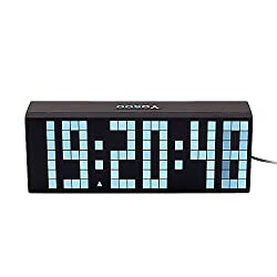Yosoo Large Big 4 6 Digit Jumbo LED Digital Alarm Calendar Snooze Wall Desk Clock (white, 6-digit version)