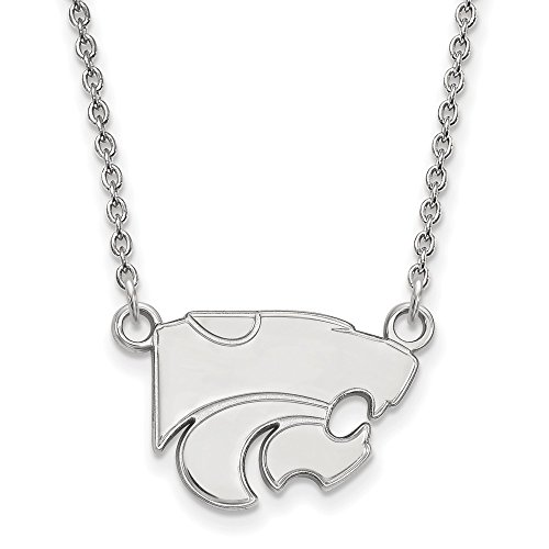 Kansas State Small (1/2 Inch) Pendant w/Necklace (Sterling Silver) - Silver Necklace Sterling Logo