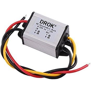 DROK  Waterproof DC Buck Converter Voltage Regulator 8-22V to 1-15V 5V 12V 3A Adjustable Output Power Supply Transformer