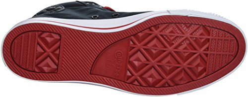 Converse Men's Street Peached Canvas Mid Top Sneaker, Black/Gym Red/White, 9 M US