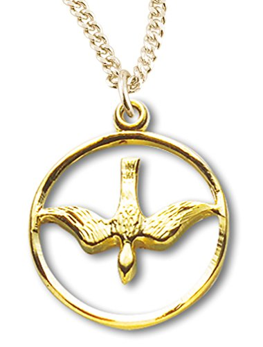 Womens 16kt Gold Over Sterling Silver Cut Out Open Circle Dove Medal + 18 Inch Gold Plated Chain & Clasp