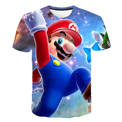 Super Mario 3D bedrukt T-shirt, ronde hals, zomer, korte mouwen, mooi Anime T-shirt, overhemden tops