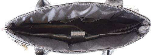 Strap Bag Work Leather Shoulder Detachable Black Laptop with Brown Black Large Dark tw0qZEt