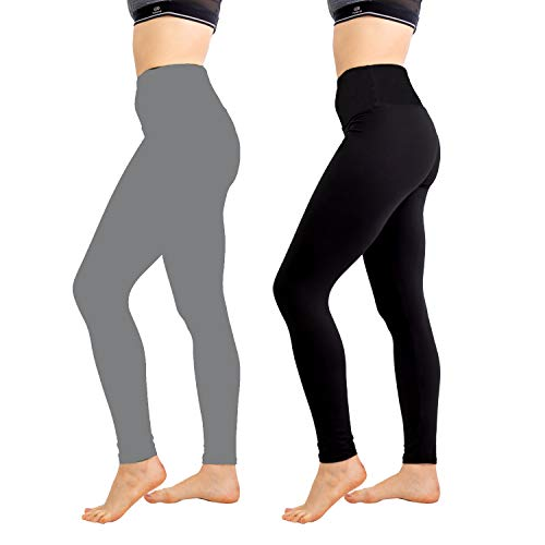 Women's Leggings High Waisted Leggings - Buttery Soft Yoga Waisted - Elastic and Slimming 2 Pack (One Size, Black+Gray) (Direction One Leggings)