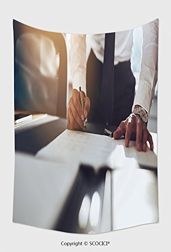 Home Decor Tapestry Wall Hanging Close Up Business Man Signing Contract Making A Deal Classic Business 334043420 for Bedroom Living Room Dorm