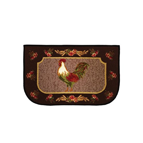 (Kashi Home Kitchen Rug, Area Rug, Mat, Carpet, Non-Skid Latex Back (18x30 D-Shape, Rooster Brown))