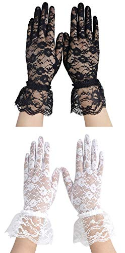 Simplicity Bridal Gloves Lace Wrist Length Special Occasion Wear, Pack of 2, Black_long + White_long from Simplicity