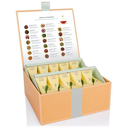 Tea Forté Tea Chest Herbal Tea Assortment with 40 Handcrafted Pyramid Tea Infusers - Chamomile, Chai, Mint and more