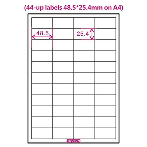 - Amazon FBA Label (100 Sheets, 4400 Labels) 44-up labels 48.5*25.4mm on A4 White Self Adhesive Shipping Mailing stickers for Laser/InkJet Printer, Meets Amazons FBA requirements- TOOFUN