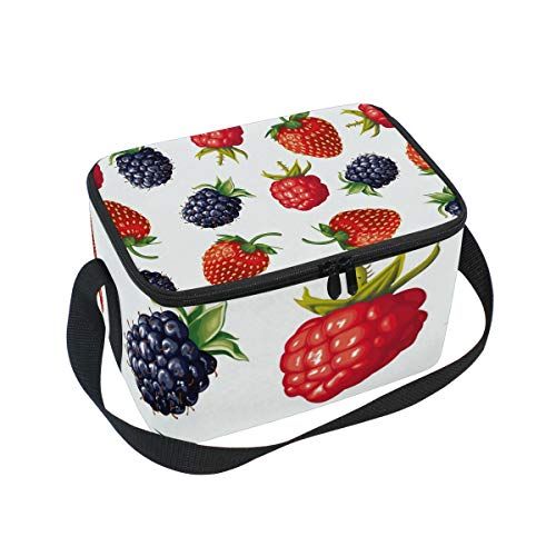Insulated Lunch Bag Sweet Fruits Red Strawberries Mulberry Lunchbox Thermal Handbag Food Container Cooler Reusable Outdoors Travel Work School Strap Lunch ()